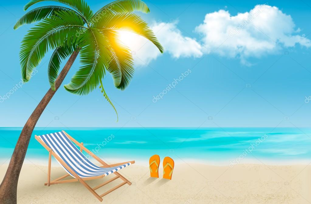 Seaside background with a beach chair and flip-flops. Vector ill