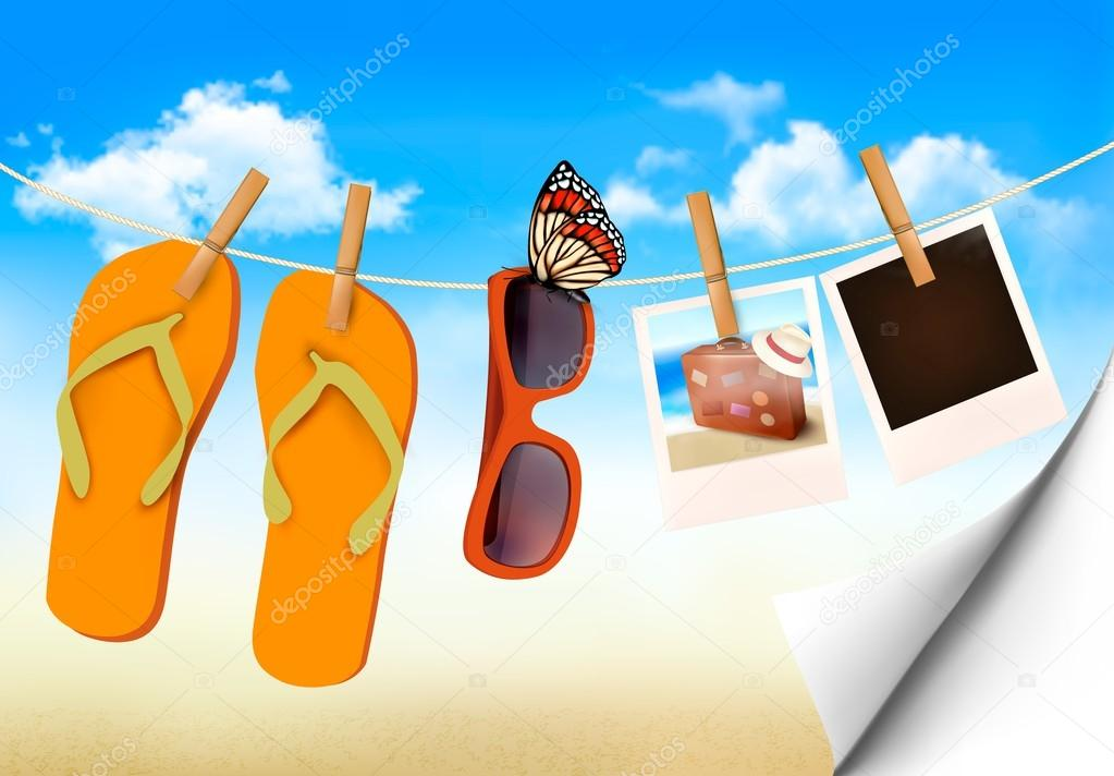 Flip flops, sunglasses and photo cards hanging on a rope. Summer