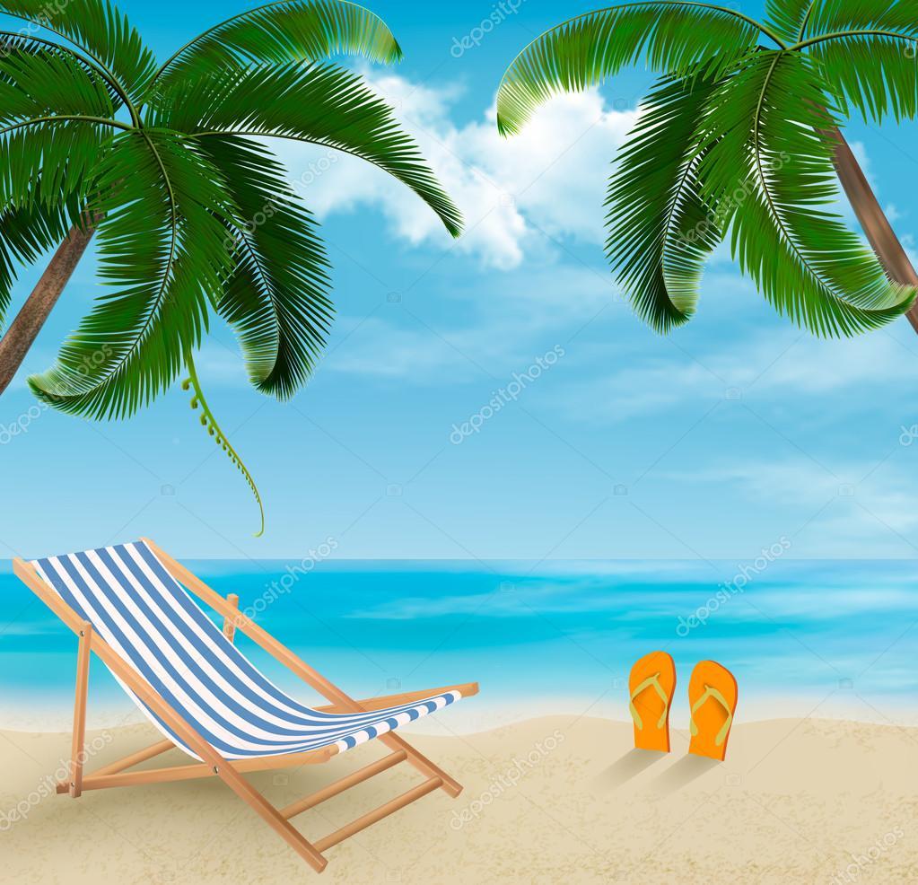 Plage De Palmiers Et De Chaise De Plage 233 T 233 Vacances
