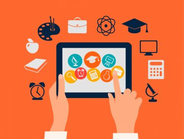 E-learning concept. Hands touching a tablet with education icons