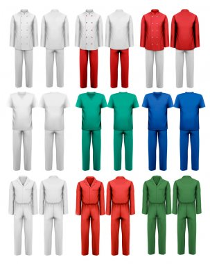 Set of overalls with worker. Design template. Vector illustration stock vector