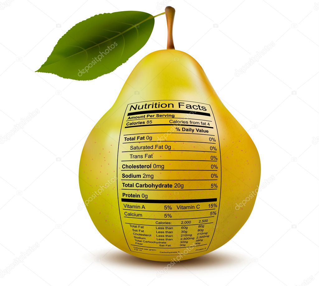 Pear with nutrition facts label. Concept of healthy food. Vector