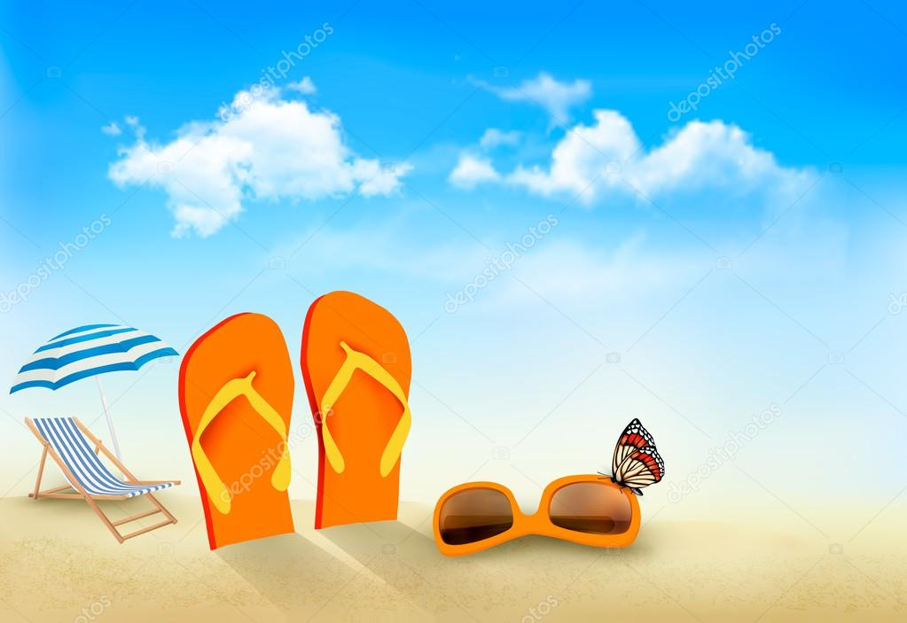 Flip flops, sunglasses, beach chair and a butterfly on a beach.