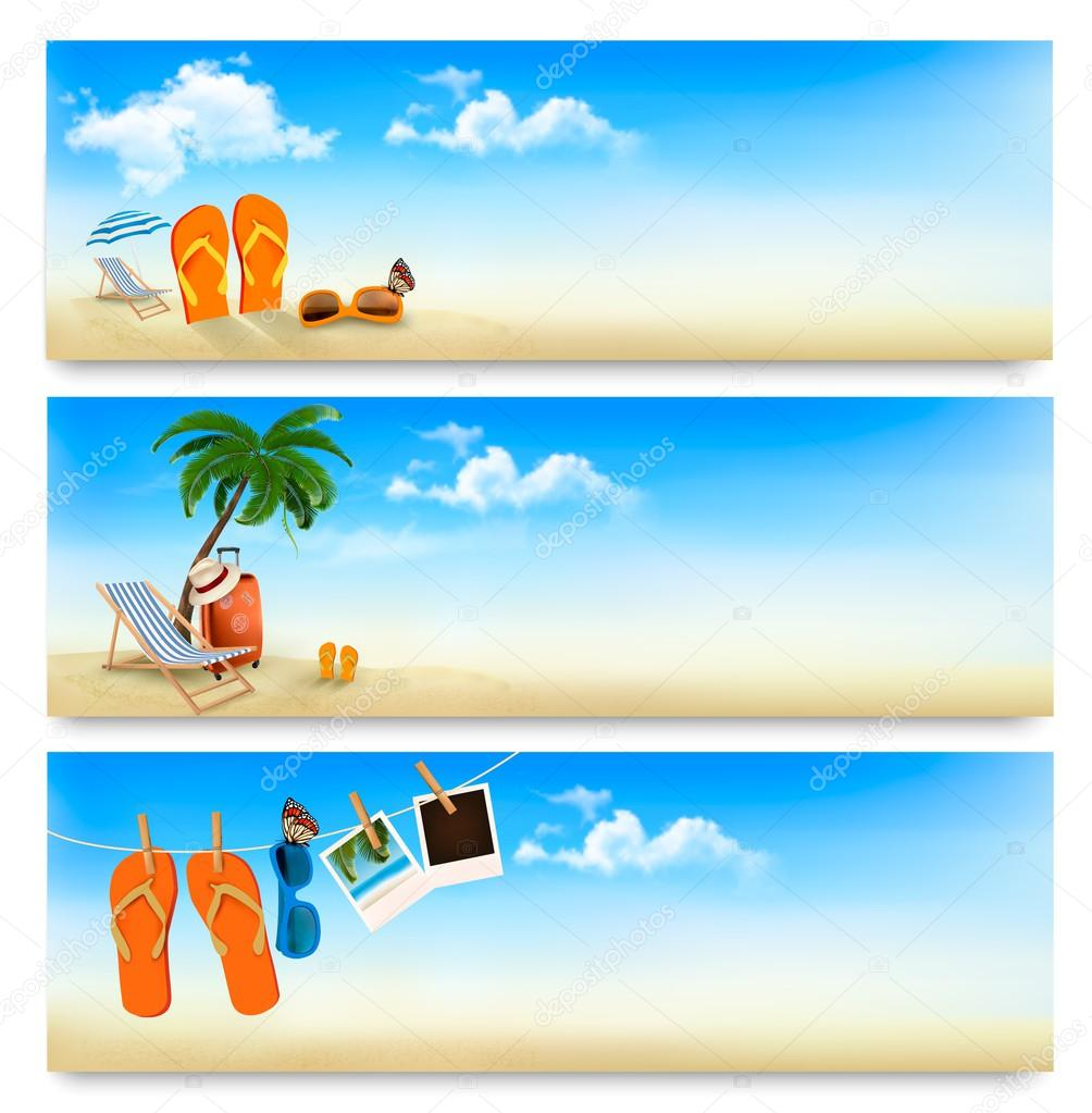 Three summer vacation banners. Vector.