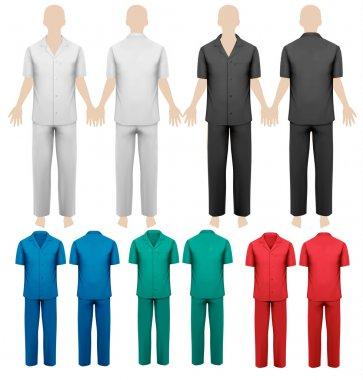 Set of work overalls. Design template. Vector illustration.