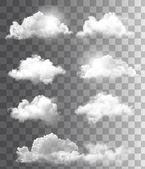 Sada průhledných různých mraků. vektor