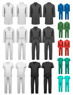 Set of overalls with worker and medical clothes. Design template
