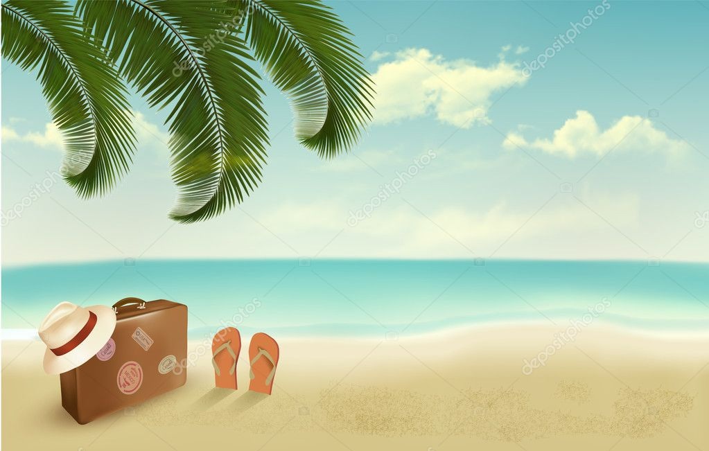 Retro Beach Wallpaper 500 489: Retro Summer Vacation Background. Vector