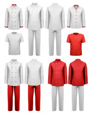 The set of various work clothes. Vector illustration. stock vector