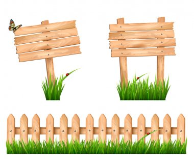 Two wooden signs and a fence with grass. Vector.
