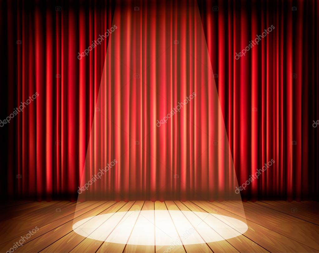 Red curtain spotlight - A Theater Stage With A Red Curtain And A Spotlight Vector Stock Vector
