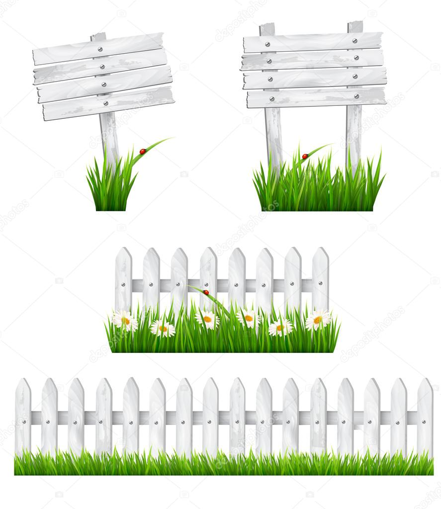Set of white wooden signs and a fences with grass. Vector.