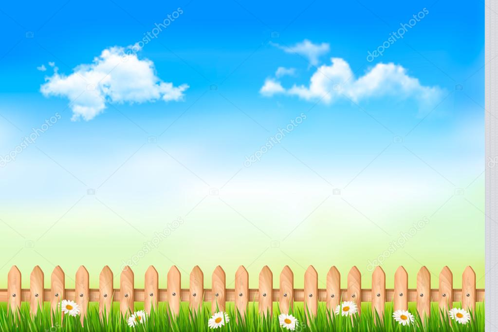 Summer nature background with green grass and wooden fence . Vec