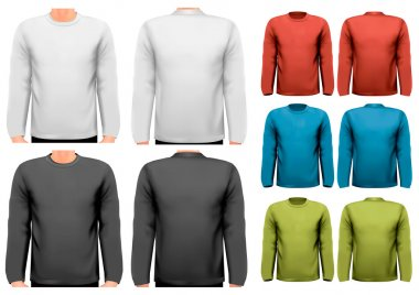 Long sleeved shirts with sample text space. Vector.