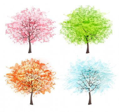Four seasons - spring, summer, autumn, winter. Art tree beautifu