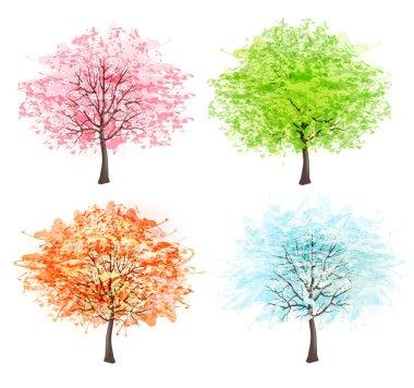 Four seasons - spring, summer, autumn, winter. Art tree beautiful for your design. Vector illustration. stock vector