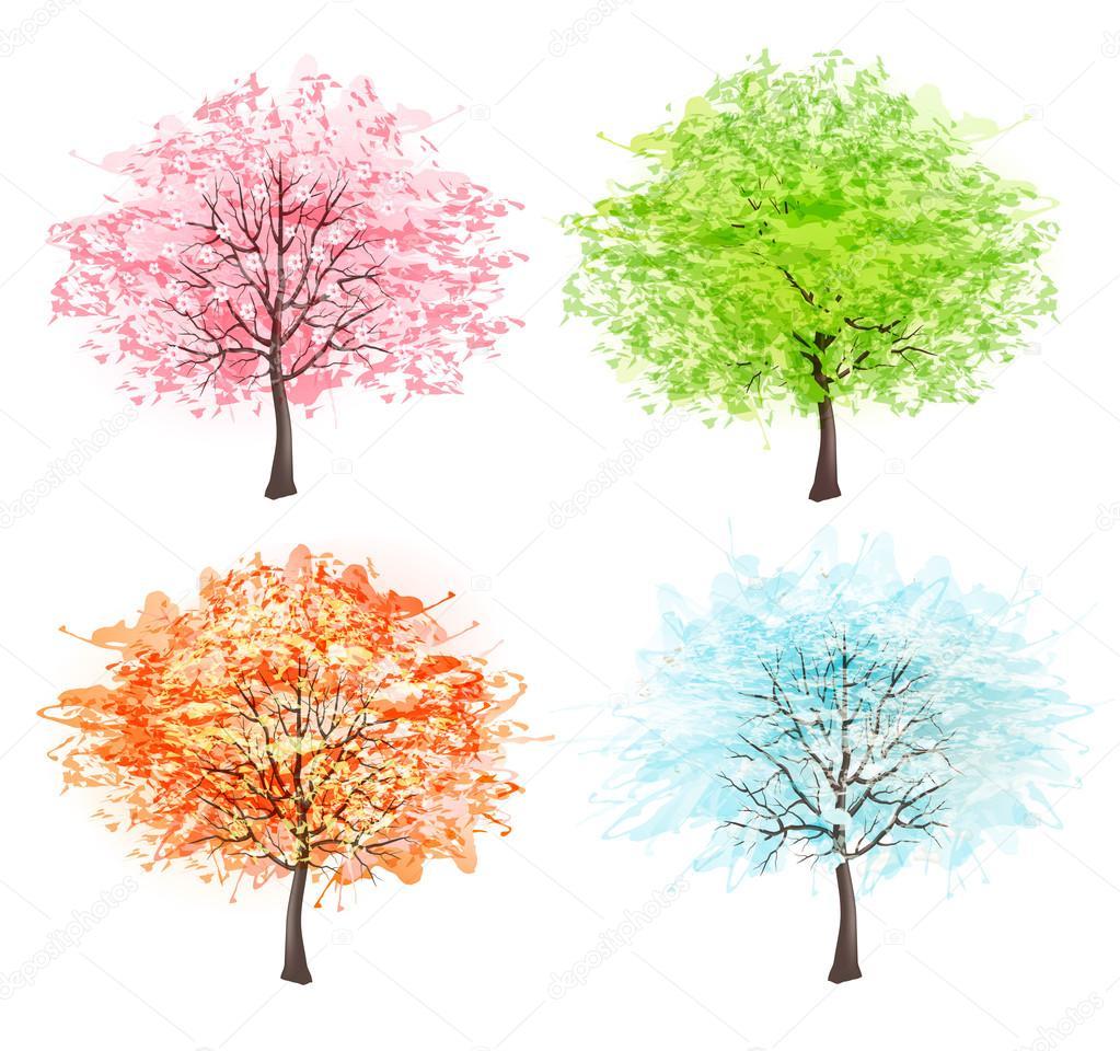 Four seasons - spring, summer, autumn, winter. Art tree beautifu