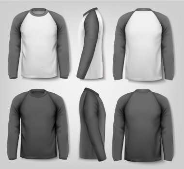Black and white male long sleeved shirts with sample text. Desig