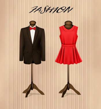 A suit and a retro formal dress on mannequins. Vector. stock vector