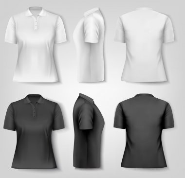 Female polo shirts. Design template. Vector.