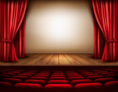 A theater stage with a red curtain, seats. Vector. stock vector