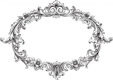 Vector art of victorian frame isolated on white clip art vector