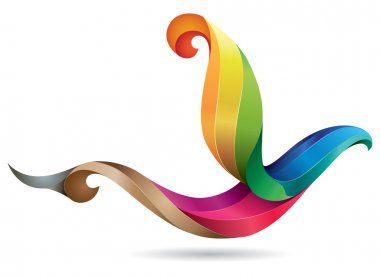 Beautifully stylized colordul and 3D looking flying bird illustration, icon or emblem