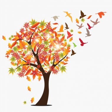 Autumun seasonal concept vector illustration background with falling leaves, sun beams and flying birds stock vector
