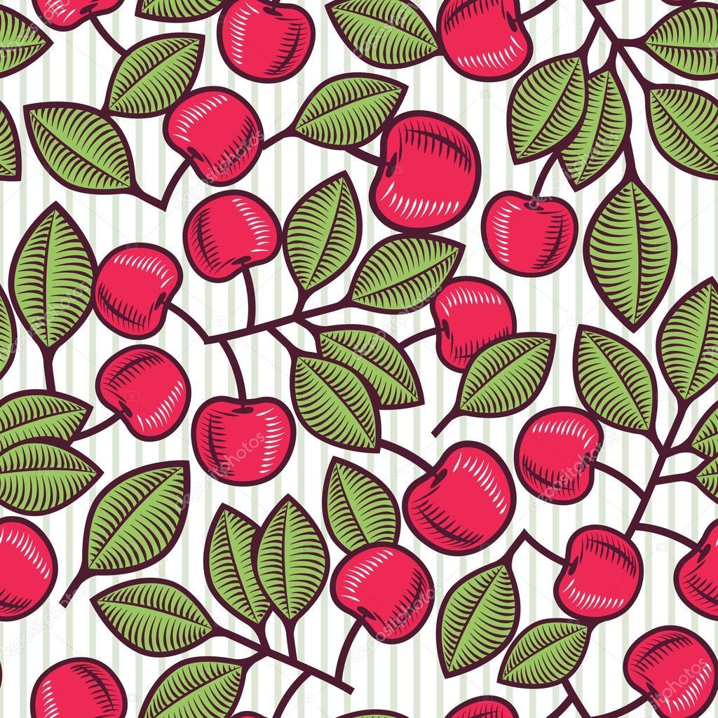 Vintage Cherries Seamless Pattern Stock Vector