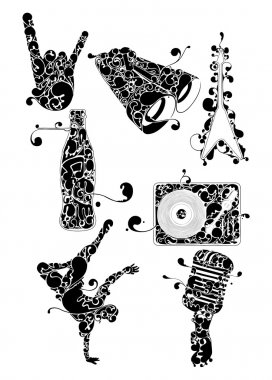 Flourish groove set, collection of vector illustrations