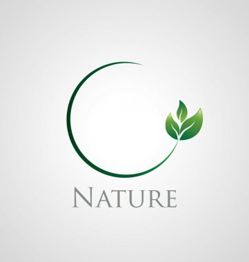 Abstract nature icon with green leaves on a circle branch stock vector
