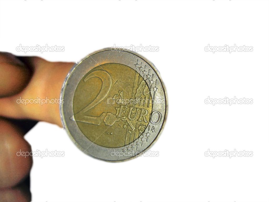 Zwei Euro Münze Auf Den Männlichen Fingern Isoliert Stockfoto