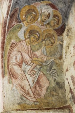 Old fresco on the wall of St.Nicholas church, Demre