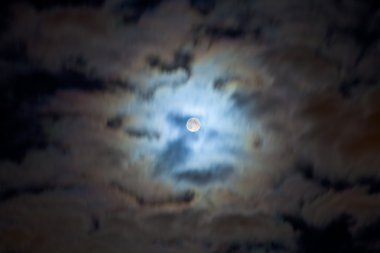 Night cloudscape with full moon