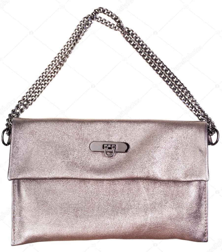 f1fa2cdcc127f Altın deri clutch çanta beyaz zemin üzerine izole zincir kemer ile —  vvoennyy ...