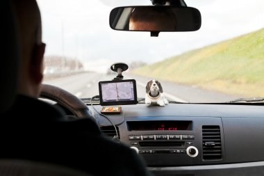 Driving car with GPS Navigator