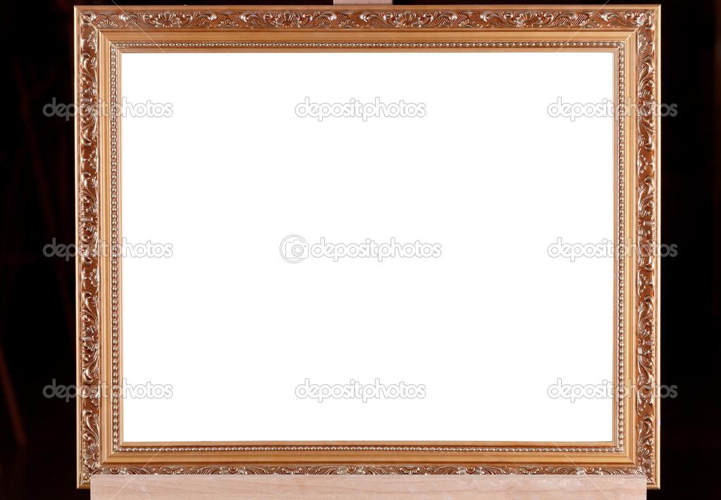 braun Holz Bilderrahmen auf Staffelei mit schwarzem Hintergrund ...