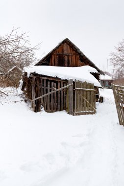 Abandoned in snowcovered village