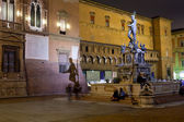 Photo Fountain of Neptune with shade on Sala Borsa wall in Bologna