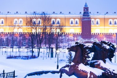 View of Alexander Garden in blue snowing evening, Moscow