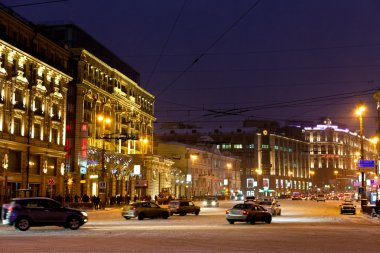 View of Tverskaya street in winter night in Moscow