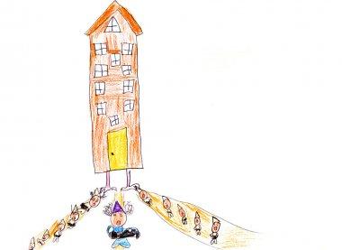 child's drawing - big house of dwarfs