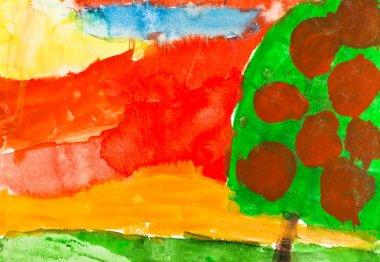 child's painting - autumn sunset and apple tree