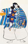 Japonský samuraj muž v tradičním oblečení