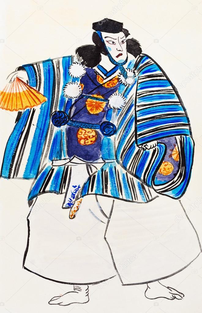 Японские самураи человек в традиционной одежде — Стоковое ...