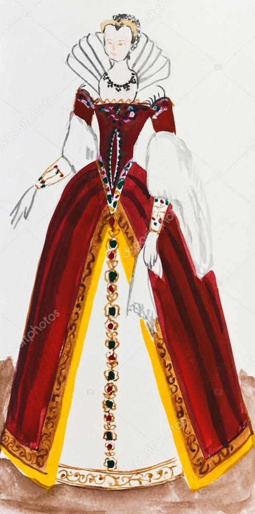 Costumes historiques , femmes costume royal en france fin du XVIe siècle \u2014  Image de vvoennyy