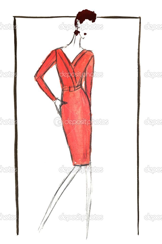 rode zakelijke jurk