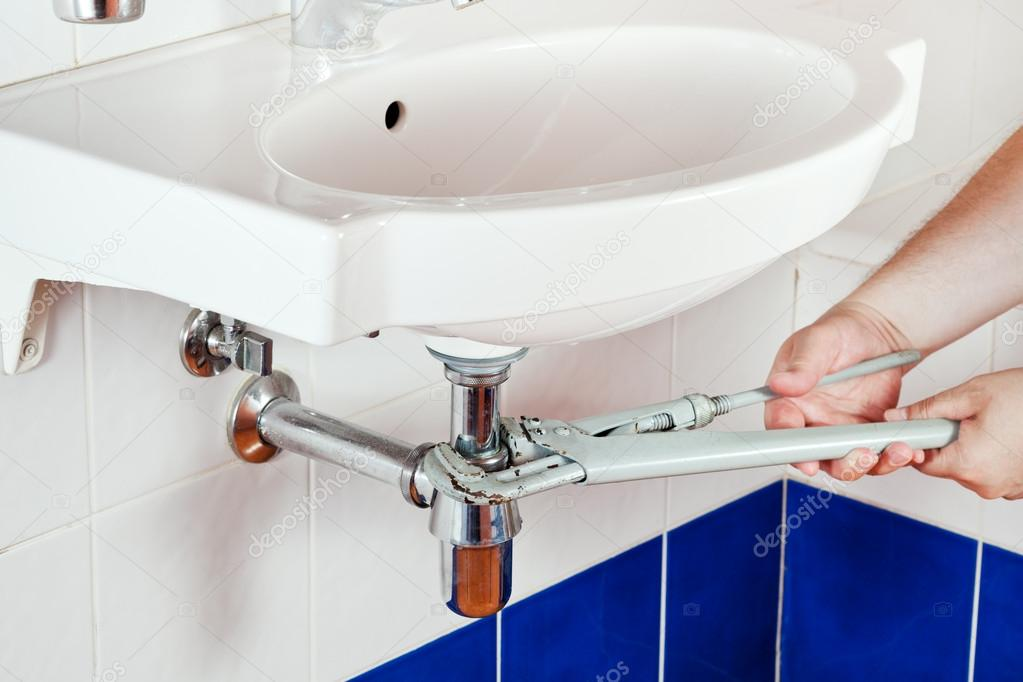 repairing sink drain — Stock Photo © vvoennyy #27806267