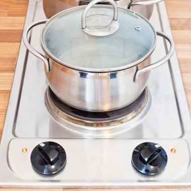 boiling water in metal pot on hotplate