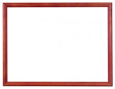 wooden red picture frame with cut out canvas